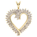 Modern Estate 10K Yellow Gold Diamond Open Heart 30MM Pendant