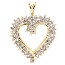 Modern Estate 10K Yellow Gold Diamond Open Heart 30MM Pendant
