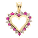 Estate 10K Yellow Gold Diamond Red Spinel Open Heart Pendant - 25MM - 0.35CTW