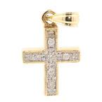 Classic Estate 14K Yellow Gold Cross Diamond 25MM Pendant