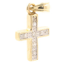Classic Estate 14K Yellow Gold Cross Diamond 25MM Pendant