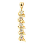 NEW Modern 14K Yellow Gold Diamond 0.50CTW Drop 30MM Pendant