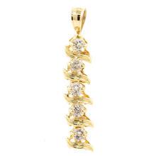 NEW Modern 14K Yellow Gold Diamond 0.50CTW Drop 30MM Pendant