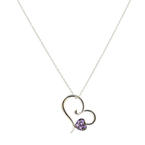 "Vintage Estate 14K White Gold Purple Amethyst Heart Pendant 17""-20"" Link Chain"
