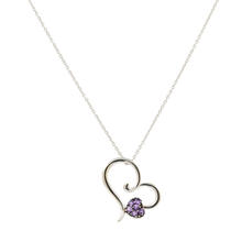 "Estate 14K White Gold Purple Amethyst Heart Pendant 17""-20"" Link Chain"