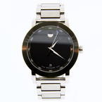 Handsome Movado 07.1.14.1145 Black Sport Museum Stainless Steel Date Display Watch