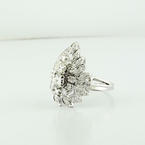 Gorgeous 1.20 Carat Vintage 14K White Gold Old Mine Diamond Angel Wing Ring