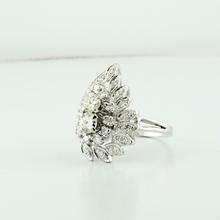 Gorgeous 1.20 Carat Vintage 14K White Gold Old Mine Diamond Angel Wing Ring