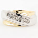 Modern Estate Men's 14K Two Tone White Yellow 0.50CTW Diamond Ring Band