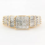 NEW Modern 14k Yellow Gold Princess Cut Diamond 0.95CTW Engagement Ring