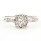 NEW Modern 10K White Gold Diamond 0.65CTW Halo Engagement Ring