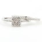 Modern Ladies 14k White Gold Diamond Wedding Ring Bridal Set Jewelry