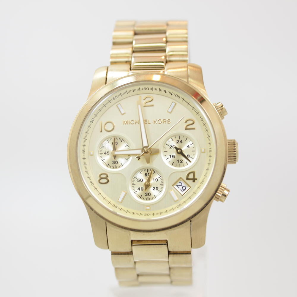 943d459e461e Ladies Michael Kors MK5055 Gold Tone Chronograph Runway Stainless Steel  Watch