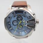 Diesel Men's Original DZ4281 Mega Chief Blue Dial Brown Leather Strap Watch
