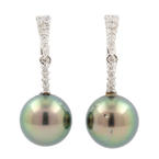 Estate Ladies 14K White Gold Tahitian Pearl Diamond Drop French Back Earrings