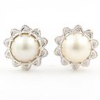Classic Vintage Estate 14K White Gold Mabe Cultured Pearl & Diamond French Back Earrings