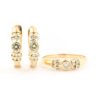 Retro Estate 14K Yellow Gold Diamond 0.75CTW Two Piece Jewelry Set