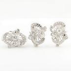 Estate 8K White Gold Diamond 0.60CTW Ornate Two Piece Jewelry Set