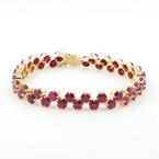 "Retro Vintage Estate 14K Yellow Gold Red Ruby Gemstone 9.60CTW 7"" Bracelet"