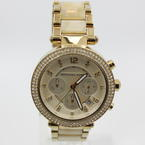 Michael Kors Ladies Chronograph Champagne Dial Stainless Steel Quartz Watch