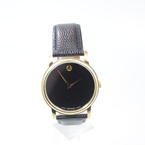 Men's Movado MO 01.1.34.6002 Stainless Steel Black Dial Genuine Leather Watch