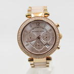 Michael Kors Parker Blush Rose Gold Chronograph Women Glitz Watch MK5896