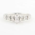 Modern Ladies Platinum PT950 Marquise Diamond Engagement Wedding Ring - 0.35CTW