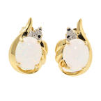 Classic Ladies 10K Yellow Gold Opal Diamond Push Back Earrings Jewelr