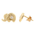 Classic 14k Yellow Gold Round Zirconia Elephant Push Back Studs