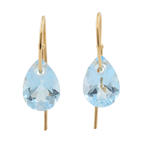 Modern 14k Yellow Gold Blue Topaz Pear Cut Gemstone 14.70CTW Drop Earrings