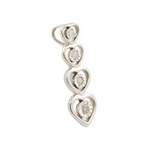 NEW Modern Classic 10K White Gold Diamond 0.05CTW Heart Slide 20MM Pendant