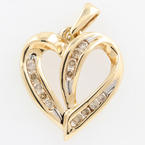 NEW Ladies 10K Yellow Gold C2 Diamond 0.25CTW Open Heart Pendant Jewelry