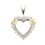 Fine Vintage Estate 10K White Yellow Gold Diamond Heart 20MM Pendant