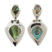 Vintage Sterling 925 Silver Colorful Abalone Shell Drop Push Back Earrings