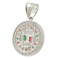 Modern Sterling Silver 925 Mexican Flag Red White Green Round Cubic Zirconia Pendant