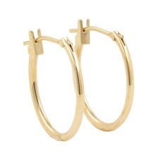 NEW Classic 14K Yellow Gold Smooth High Polished Hollow Hoop Earrings