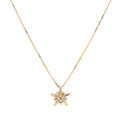 "Modern 14K Yellow Gold Diamond Star Pendant 16"" 14K Box Chain Necklace Jewelry"