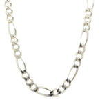 Classic Estate Men's 925 Sterling Silver Figaro Lobster Claw Clasp Chain - 26""