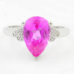 NEW Modern Ladies 10K White Gold Pink Topaz Diamond 4.60CTW Cocktail Right Hand Ring