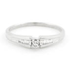 NEW Modern 10K White Gold Princess Cut Baguette Diamond Engagement Ring