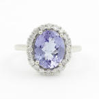 Modern Ladies 14K White Gold Iolite Diamond 2.25CTW Cocktail Ring Jewelry