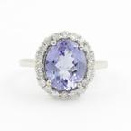 Modern Ladies 14K White Gold Iolite Diamond 2.25CTW Cocktail Ring Jewelry