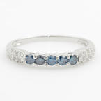 Modern 14K White Gold Blue Diamond 0.50CTW Anniversary Ring Band
