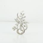 Delightful 14K White Gold Round Diamond Encrusted Flower Brooch
