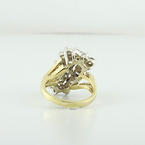 Estate Right Hand 14K Yellow & White Gold Diamond 2.05 Carat Cluster Ring