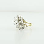 Estate Right Hand 14K Yellow & White Gold Diamond 2.05 Carat Cluster Ring