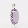 Estate 925 Silver Lilac Purple Amethyst 30MM Slide Pendant