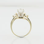 "New Love Three Diamond Heart Yellow Gold Engagement ""please Say Yes"" Wedding Ring"