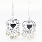 Vintage 925 Silver Black Heart 45MM Fish Hook Chandelier Earrings