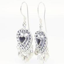 Vintage Estate Ladies 925 Silver Black Heart Fish Hook Chandelier Earrings 45MM